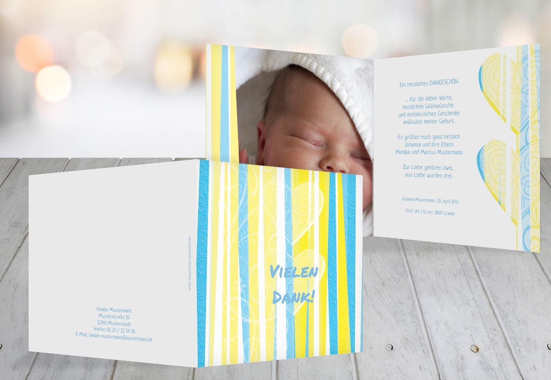 Kartenparadies Danksagung für Geburt Baby Dankeskarte hearts and and and stripes, hochwertige Danksagungskarte Baby inklusive Umschläge   100 Karten - (Format  145x145 mm) Farbe  Grasgruen B01MYE50BZ | Innovation  | Erste Kunden Eine Vollständige Palet 44e8ee