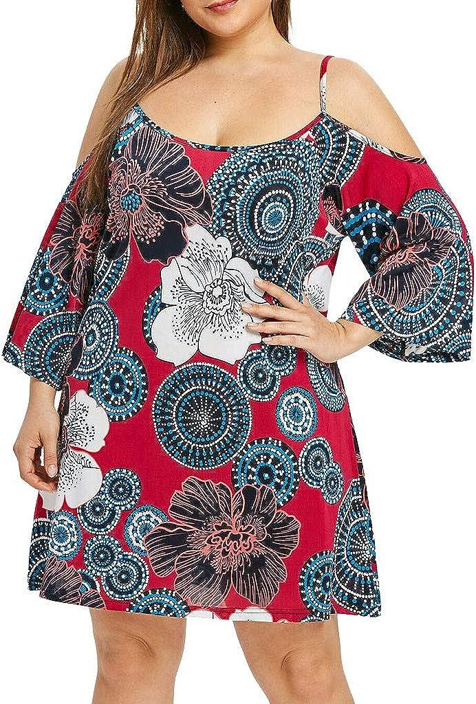 Transer Plus Size Off Shoulder Printed Dress for Womens Long Sleeve Round Neck Mini Shirt Dresses
