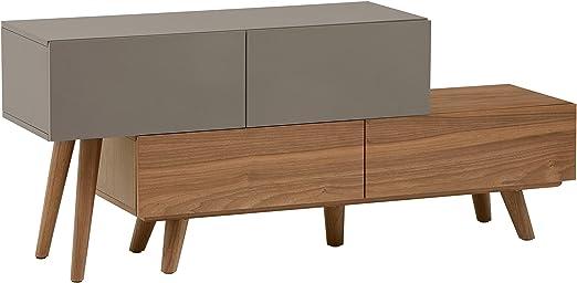 Marca Amazon - Rivet District - Consola extensible para televisión estilo Mid-century (nogal y lacado en gris): Amazon.es: Hogar