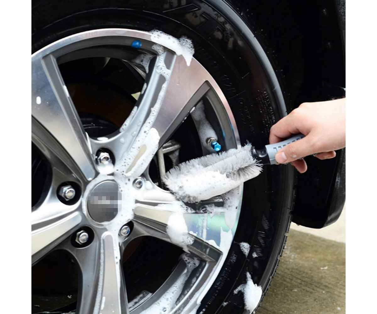 T2O® CAR WHEEL CLEANING BRUSH tool Tire WASHING CLEAN TYRE Alloy SOFT BRISTLE CLEANER T2O®