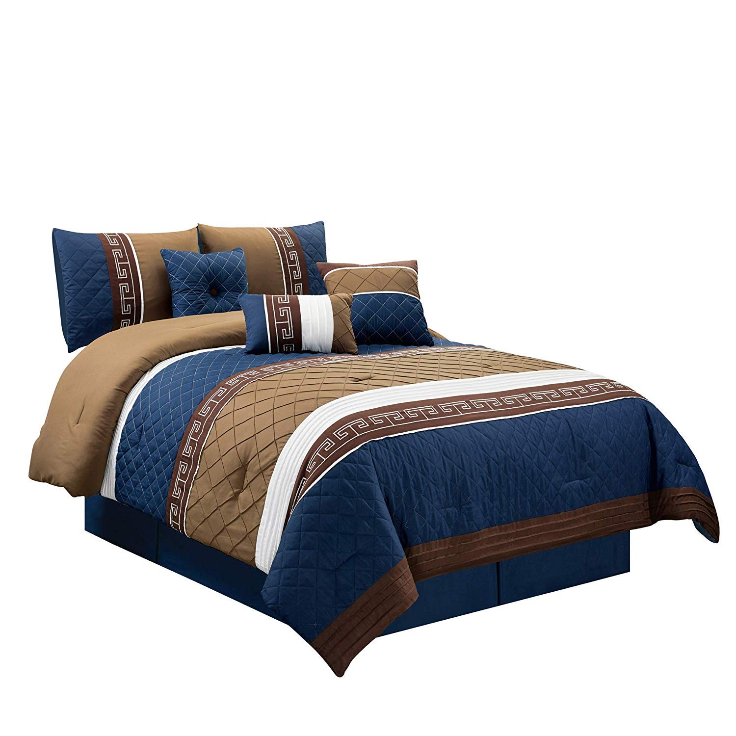Chezmoi Collection Marcia 7-Piece Navy Blue, Tan, Chocolate Brown, White Pleated Striped Diamond Quilted Embroidered Comforter Set, Queen
