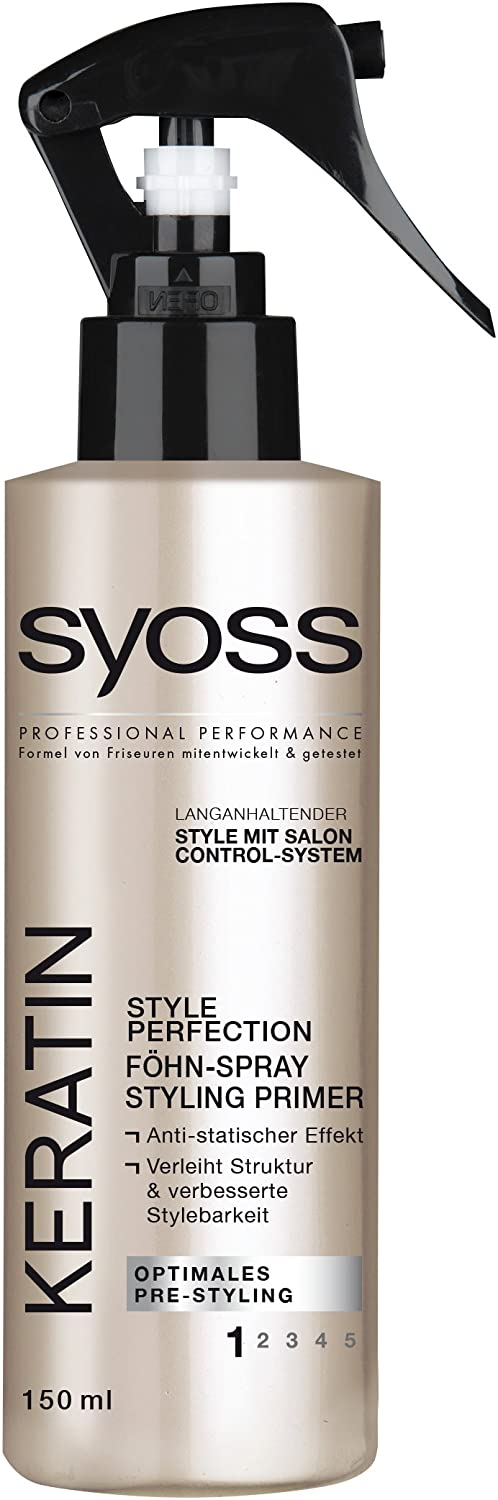 Syoss Keratin Style Perfection Föhn-Spray Styling Primer, 3er Pack (3 x 150 ml) YK