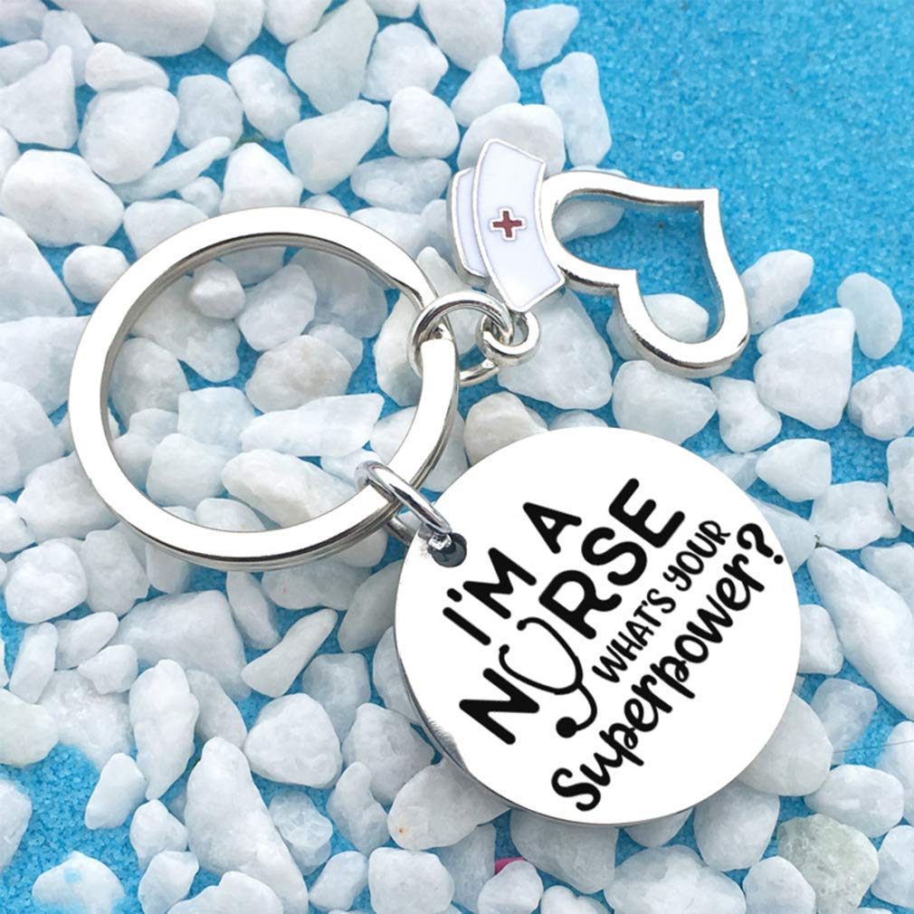 DONGMING Nurse Keychain Appreciation Gift Enamel Nurse Hat Heart Charms Keyring Medical Students Gift for Nurse Jewerly