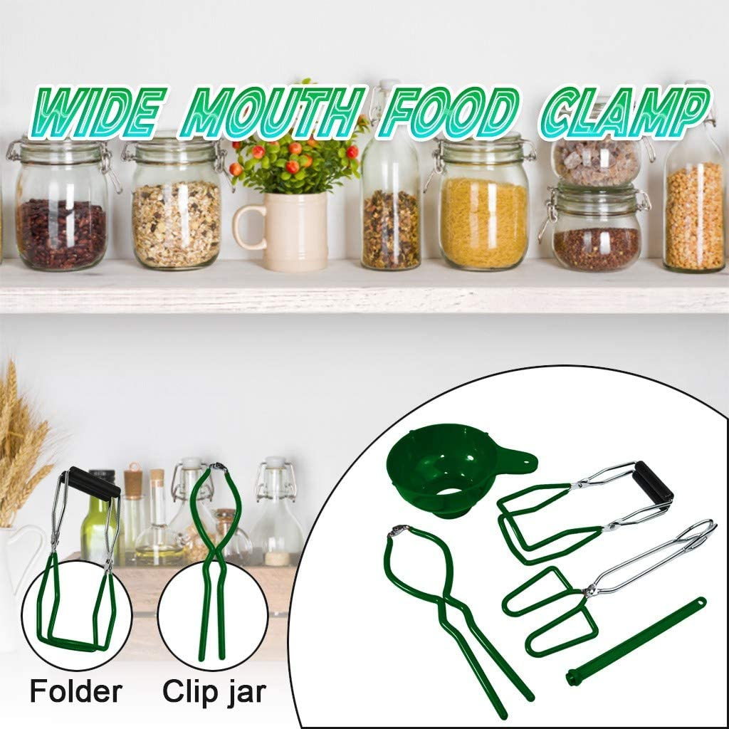 Kitchen Tool Anti-Scald Clip Suit Green Stainless Steel Large Canning Jar Tongs and Funnel for Wide Mouth and Regular Jars for Home Canning Supplies SVEON Canning Jar Lifter with Grip Handles