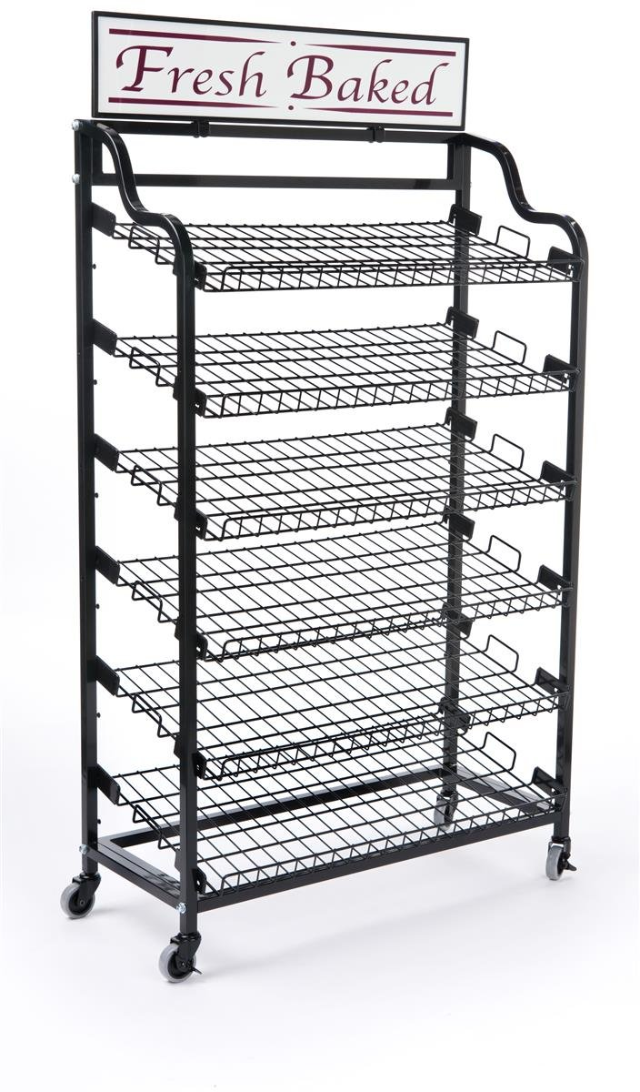 Displays2go BAKCRT6WBK Standing Baker's Rack with 2-Optional Sign Holders, Wire Storage Rack and Wheels, Black