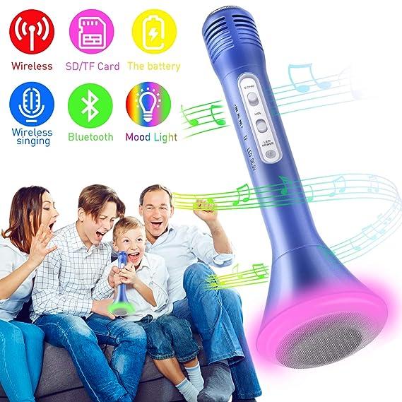 Bluetooth Karaoke Mikrofon, Portable Drahtlose Handmikrofon Lautsprecher Player Kabellos Mikrofon, Mikrofon Kinder für KTV Mu