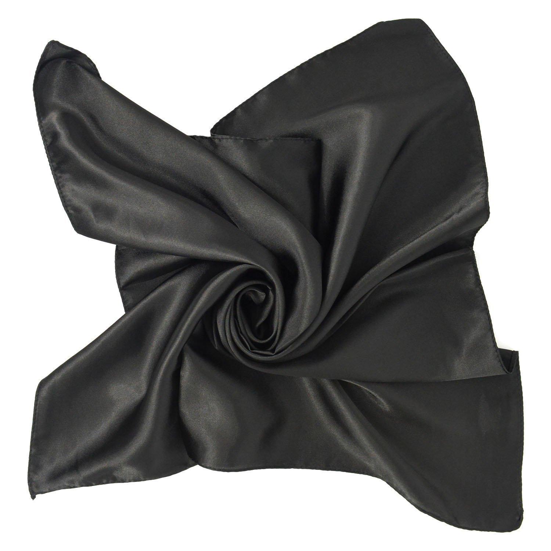 Unisex Versatile Tinta Unita 100% Seta di Gelso Lusso Bandana Fazzoletti da Collo Collo Sciarpa Sciarpa Quadrata Sciarpe(Nero)