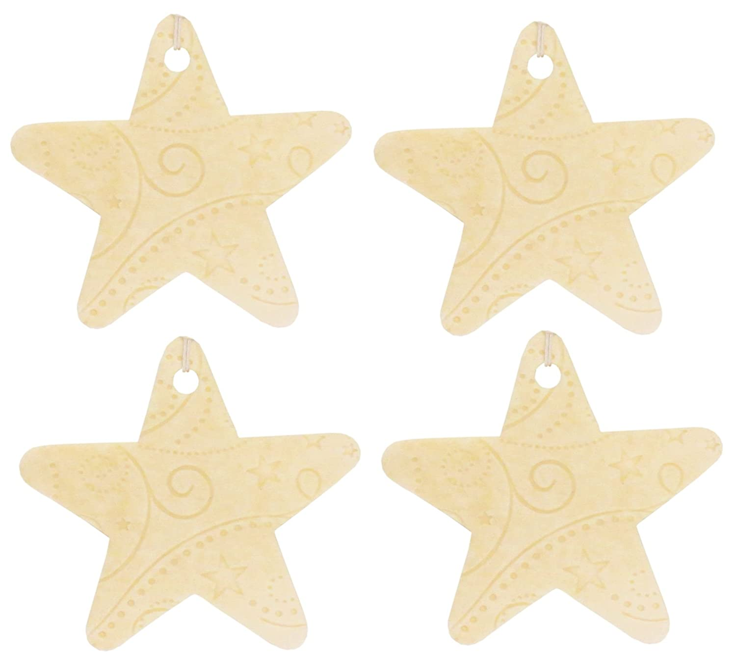 amazon com set of four star shaped air fresheners with embossed