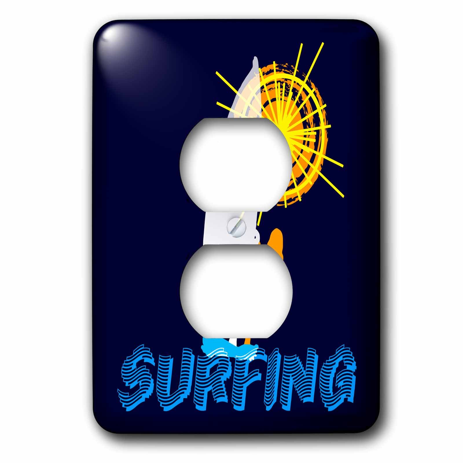 3dRose Alexis Design - Beach, Sea, Surf - Woman wind surfer, text SURFING, orange sun. Space for custom text - Light Switch Covers - 2 plug outlet cover (lsp_271764_6)