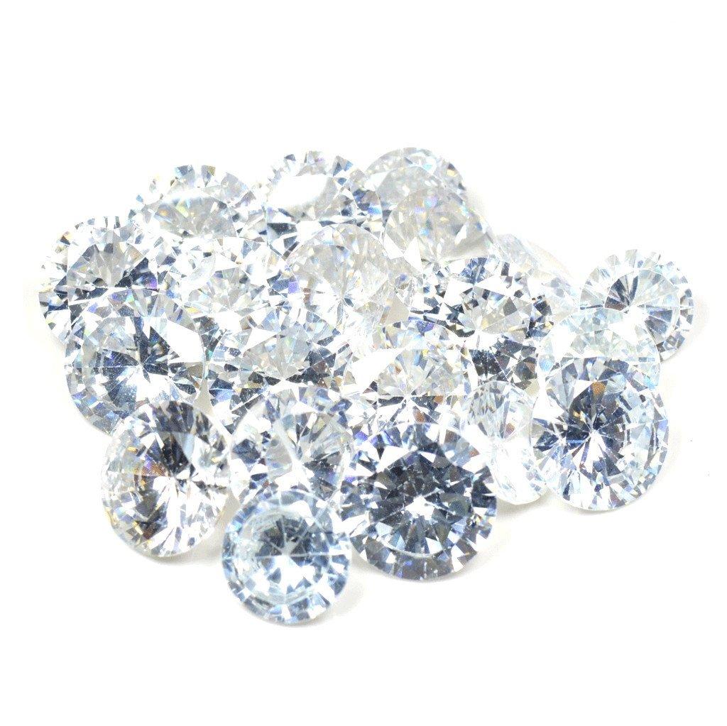 55Carat 25 Carat Beautiful Round Shape White Cubic Zircon Loose Gemstone Lot For Jewellery Making