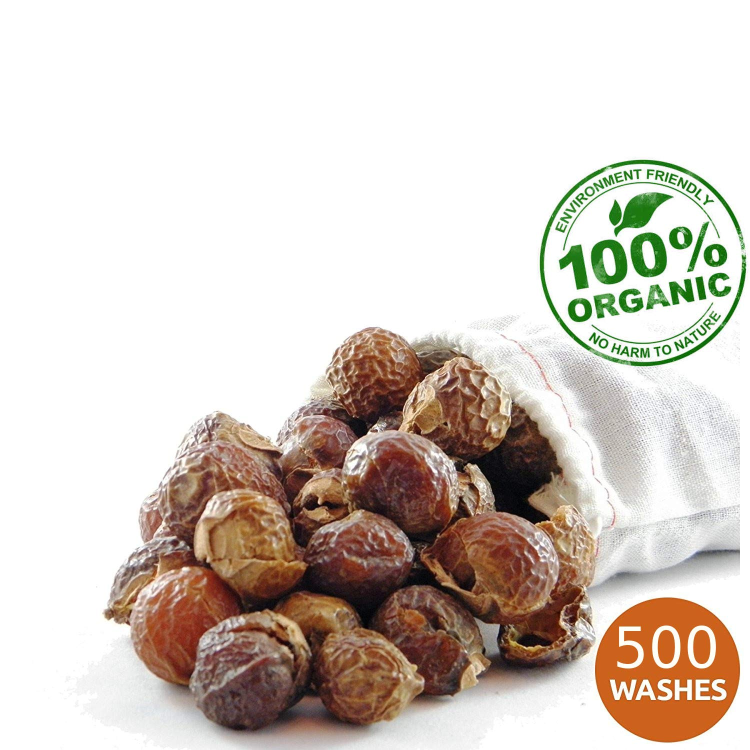 NaturalThings Organic All Natural Laundry and Dishwashing Detergent Soap Nuts/Berries. Fair Trade, Sustainable & Green Laundry (500 Loads).Premium Grade + Wash Bag (2.2 Pounds)