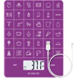 Rechargeable Digital Kitchen Scale Multifunction Food Scale with Dough Scraper by NUTRI FIT, Portable and Tare Function, 11lb/5kg Baking & Cooking Scale, Purple