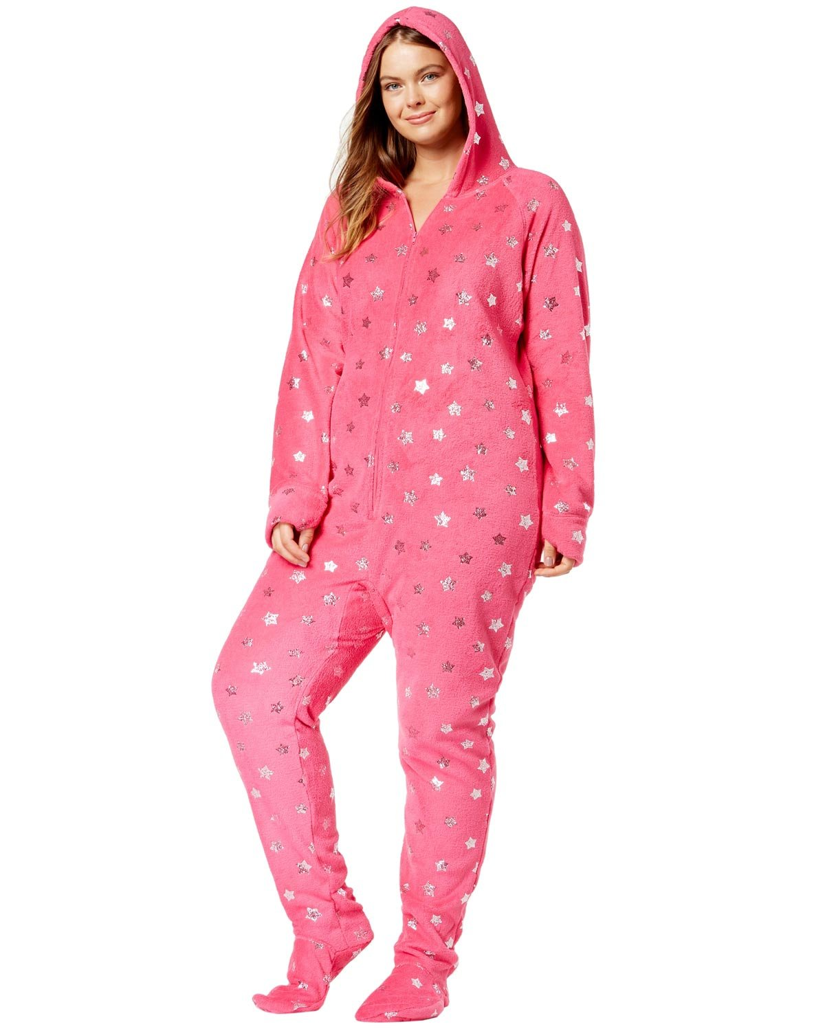 Jenni by Jennifer Moore Plus Size Hooded Printed Footed Jumpsuit 1X Foil Stars