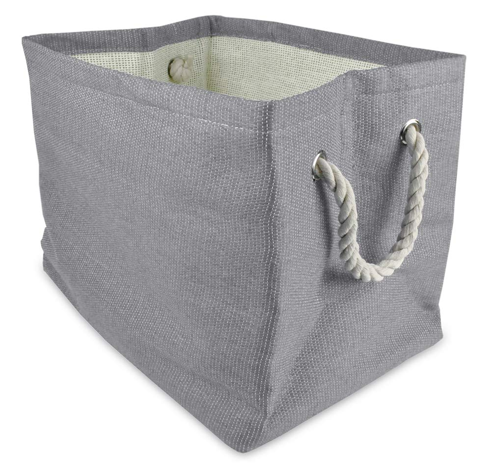 CC Home Furnishings 17'' Gray Solid Pattern Large Sized Rectangular Paper Basket with Rope by CC Home Furnishings