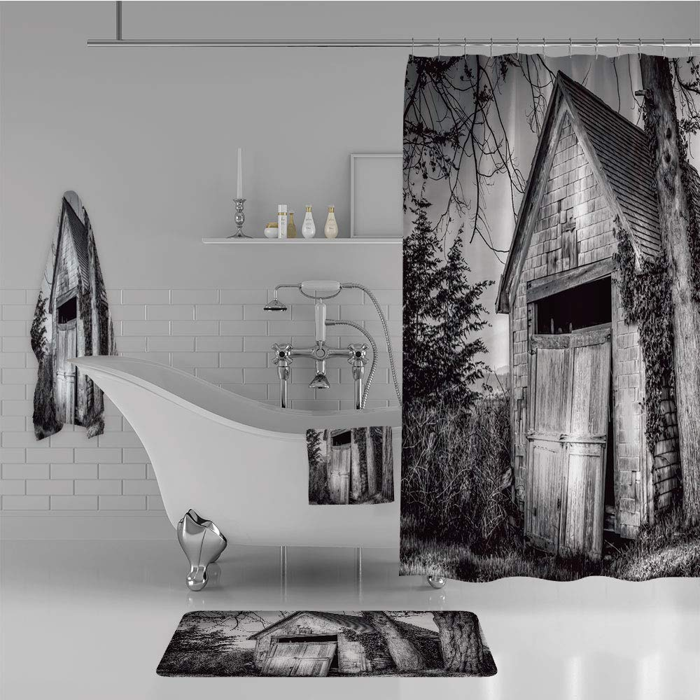 iPrint Bathroom 4 Piece Set Shower Curtain Floor mat Bath Towel 3D Print,Stranded Stone Barn Farmhouse Rural Countryside,Fashion Personality Customization adds Color to Your Bathroom.
