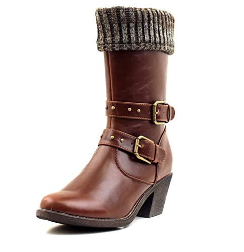 Luckers Womens Sweater Cuff Mid Calf Boots