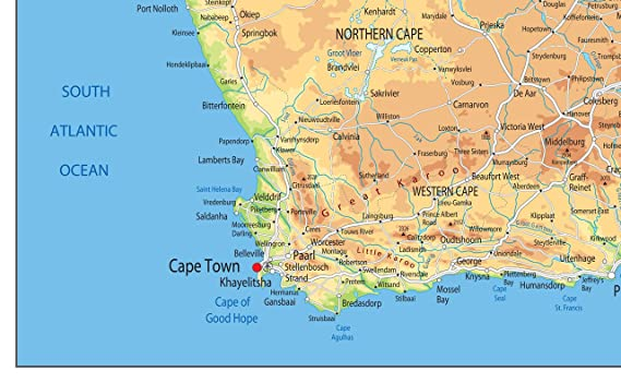 South Africa Physical Map Paper Laminated A2 Size 42 X 59 4 Cm