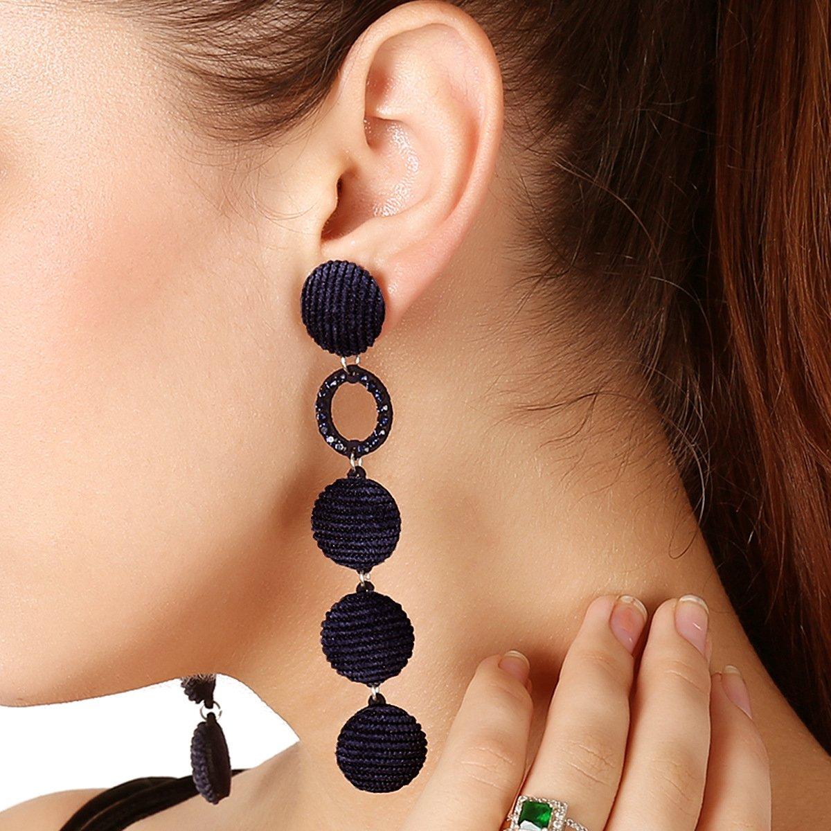 Aukmla Long Thread Fringe Dangle Statement Drop Earrings for Women and Girls (Black)