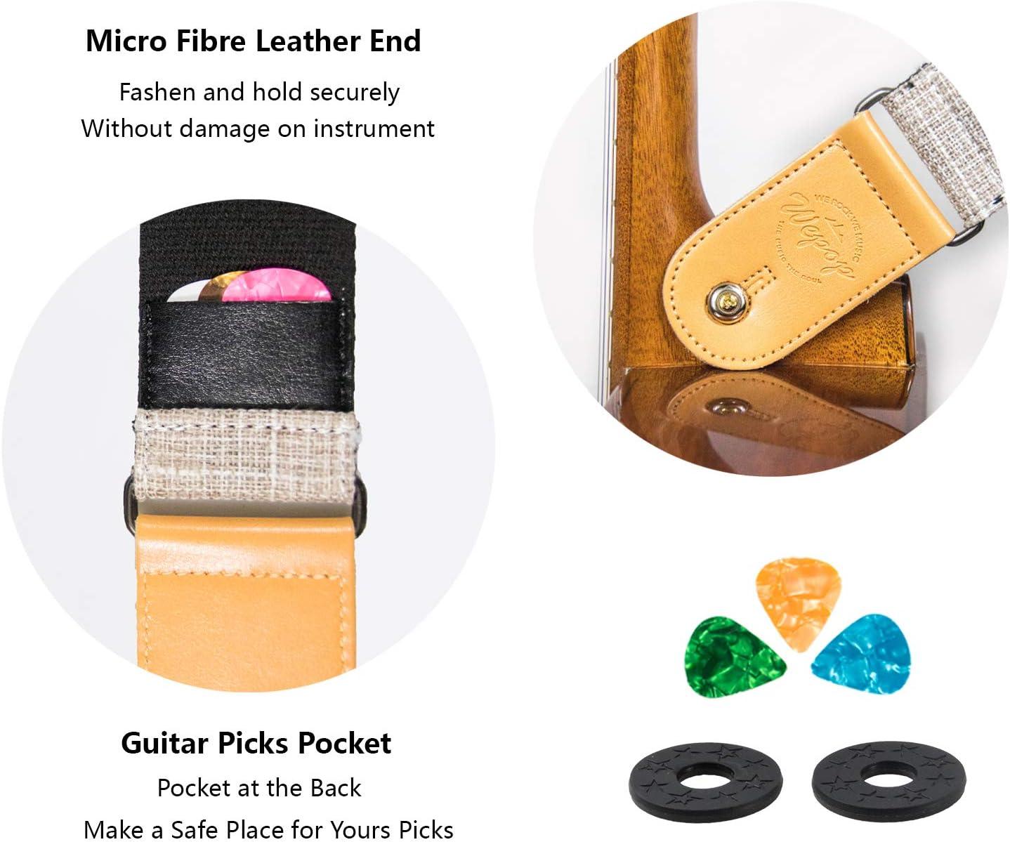 Sangle Guitare Vintage Lin Tiss/é Classique pour Guitare Acoustique /Électrique Basse Ukulele avec Porte M/édiators Extr/émit/éen Cuir Microfibre Marron