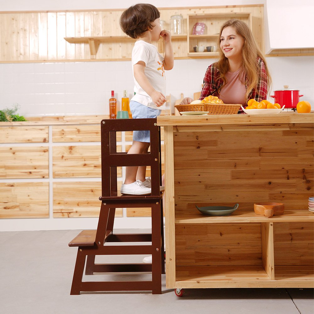 UNICOO- Kids Learning Stool, Kids Kitchen Step Stool, with Safety Rail-Solid Wood Construction. Perfect for Toddlers (Espresso-01)
