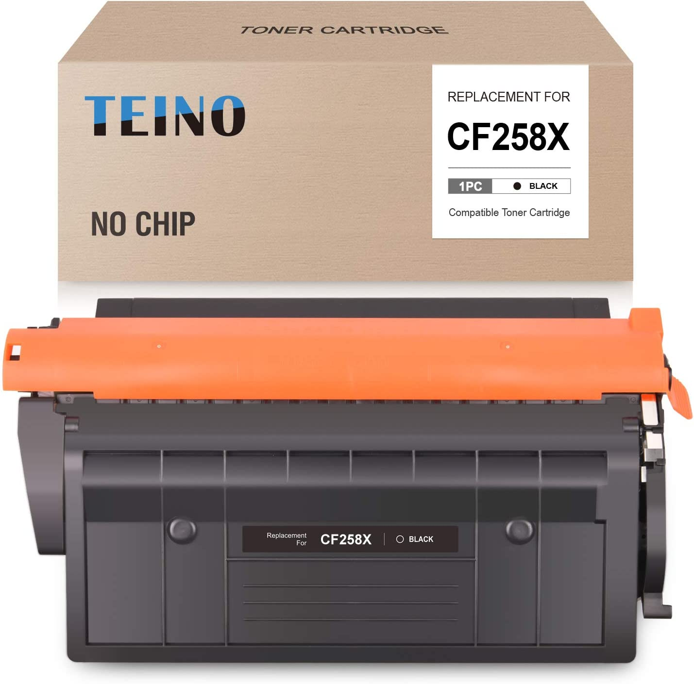 TEINO (No Chip) Compatible Toner Cartridge Replacement for HP 58X CF258X 58A CF258A use with HP Laserjet Pro M404dn M404n M404dw M304 MFP M428fdw M428fdn M428dw (Black, 1-Pack)
