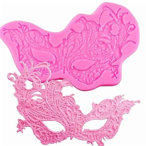 Moldes de silicona para decoración de tartas o pasteles, diseño de máscara de danza,