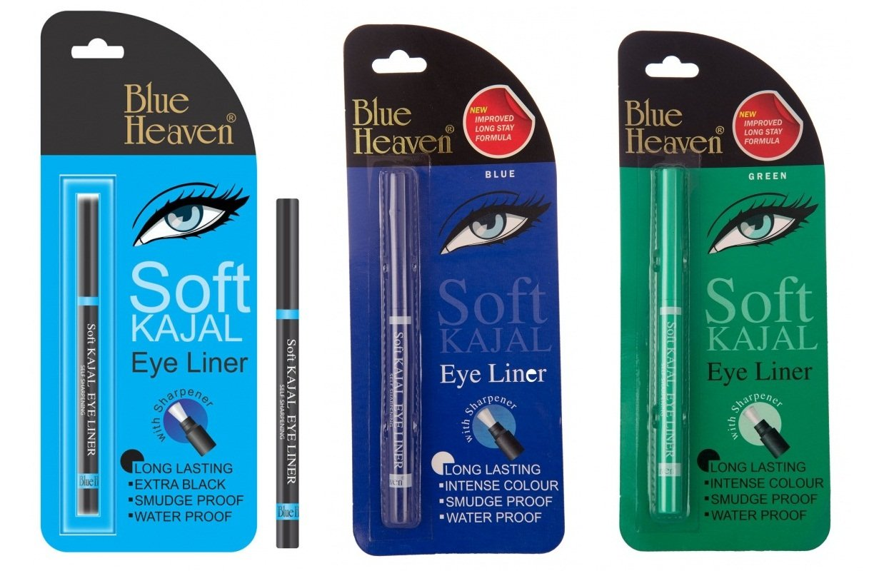 Blue Heaven Combo of 3 Pc Soft Kajal(Black),Soft Kajal(Blue),& Soft Kajal(Green) product image