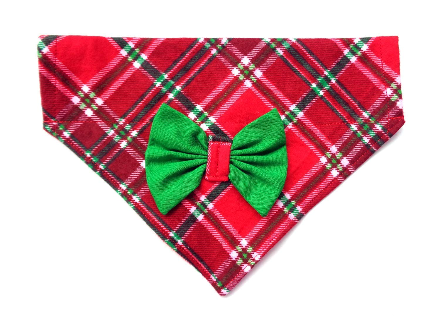 2 in 1 Flannel Scottish Plaid Christmas St Patrick's Day Dog Bandanna Bow, Over the Collar No-Tie Slip Through, Festive Petwear Handmade Holiday Accessories