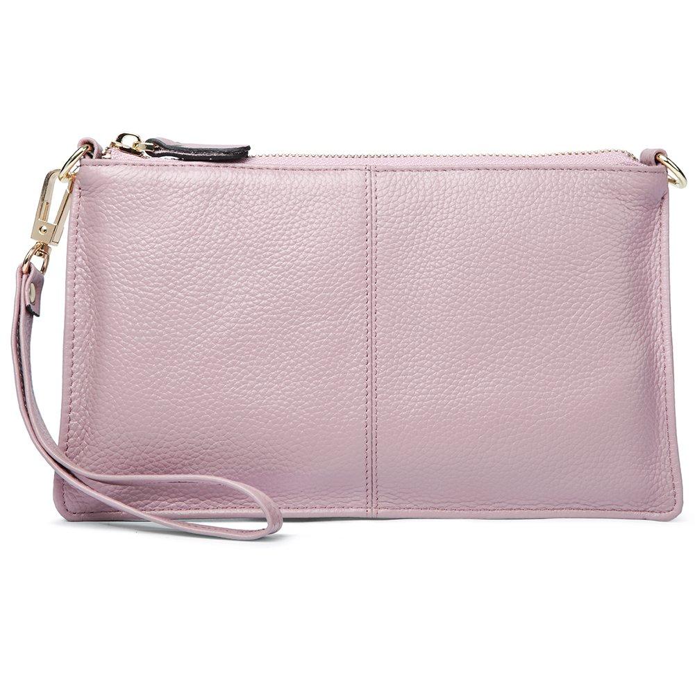 BOSTANTEN Womens Leather Cell Phone Purse Wristlet Clutch Wallets Chain Handbag Crossbody Wallet for Women Taro Pink