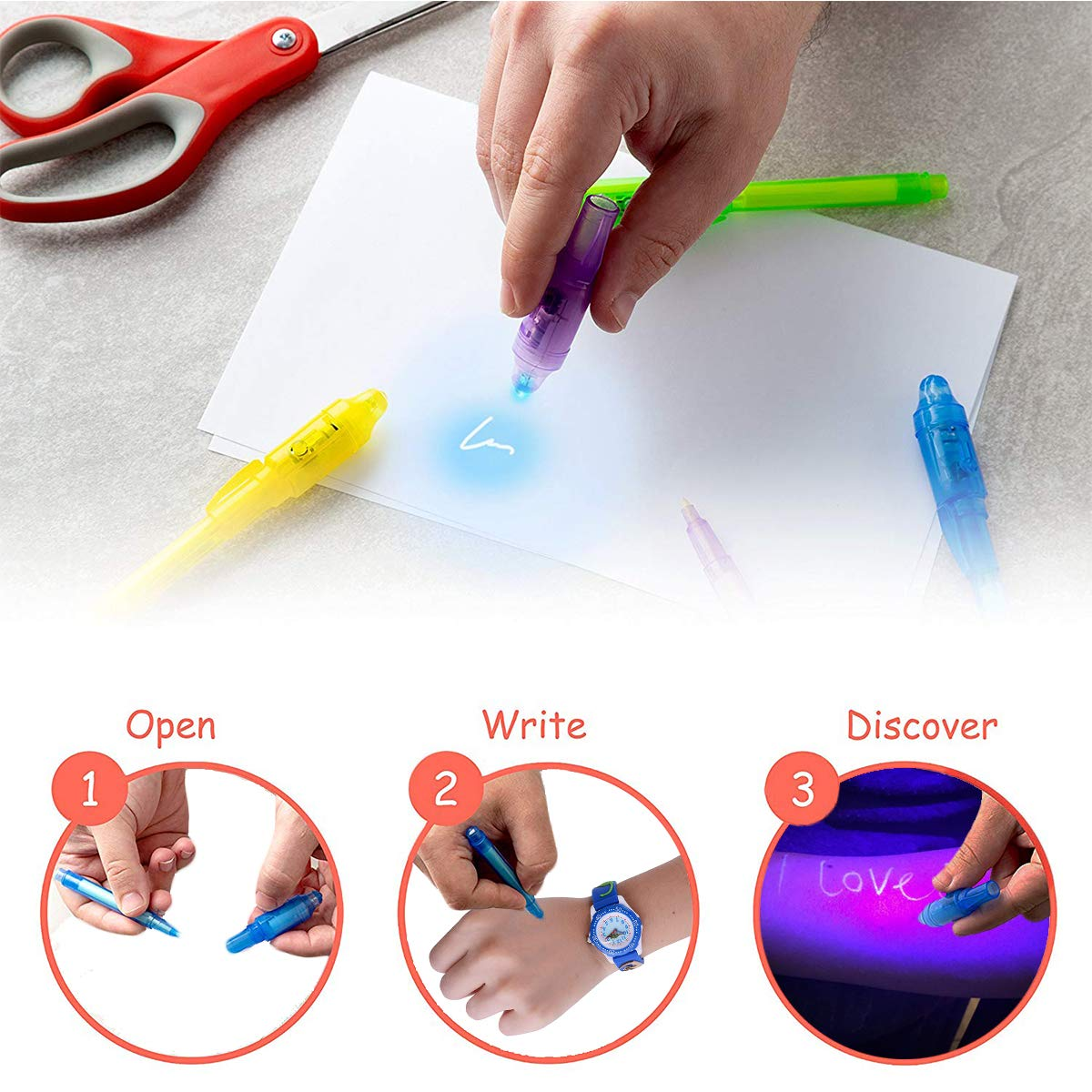 Joyjam Toys for 3-8 Year Old Boys Girls Invisible Ink Pen Spy Gear for Kids Magic Pen with UV Light Party Favors for Kids Christmas Novelty Gifts Stocking Stuffers (12 Pack) by Joyjam (Image #2)