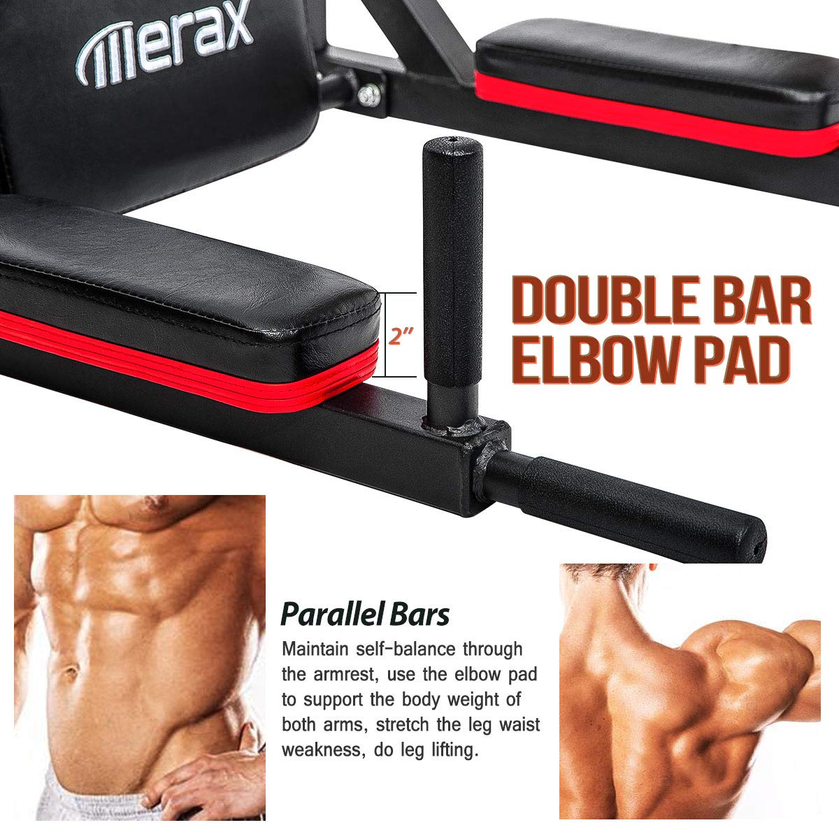 Merax Wall Mounted Pull-Up Bar - Multi-Grip Chin-Up Bar Dip Stand Power Tower Set for Home Gym Strength Training Equipment [Supports 440LBS] (Black & Red) by Merax (Image #4)