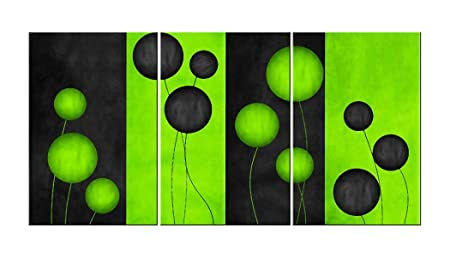 Canvas Wall Art Decor Abstract Flowers Painting 64 x 24 Floral Black Green Seeds Flower Canvas Arkwork Framed for Living Room Home Decorations