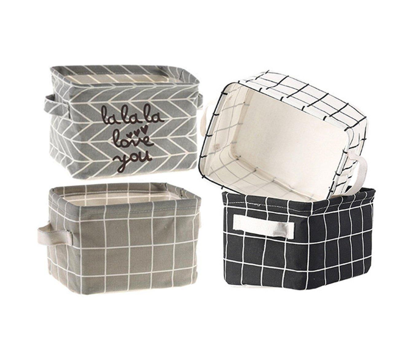 Storage Baskets Collapsible Fabric Storage Bin Organizers Box Cute Nursery for Makeup, Books, Kids Toys, Shelves & Desks Storage - Set of 4 (Grid) Mini Storage Bins