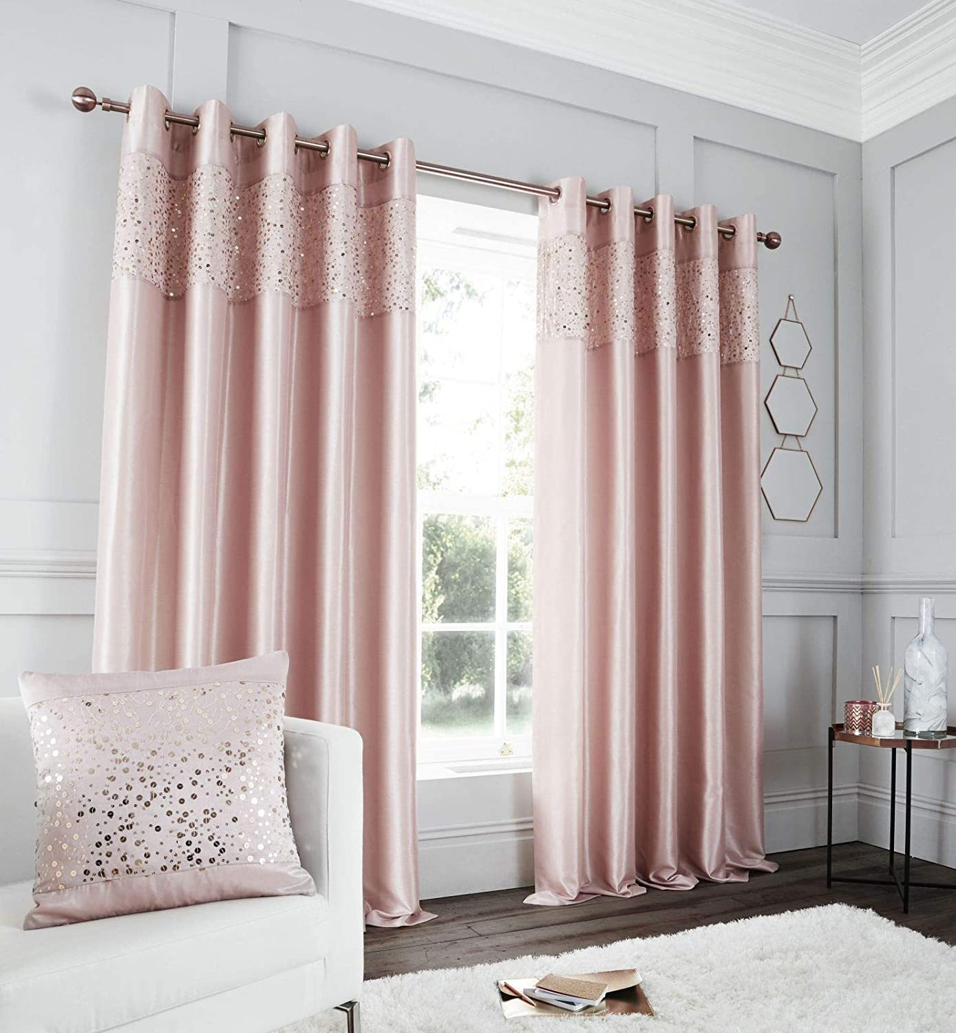 Catherine Lansfield Glitzy Eyelet Curtain 66x54 Inch Blush Turner Bianca DS/46682/W/E6654/BLH