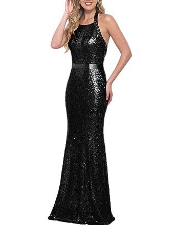 Yilis Sequin Beaded Evening Gown Prom Dress Halter Mermaid Bridesmaid Dress (Black,2)