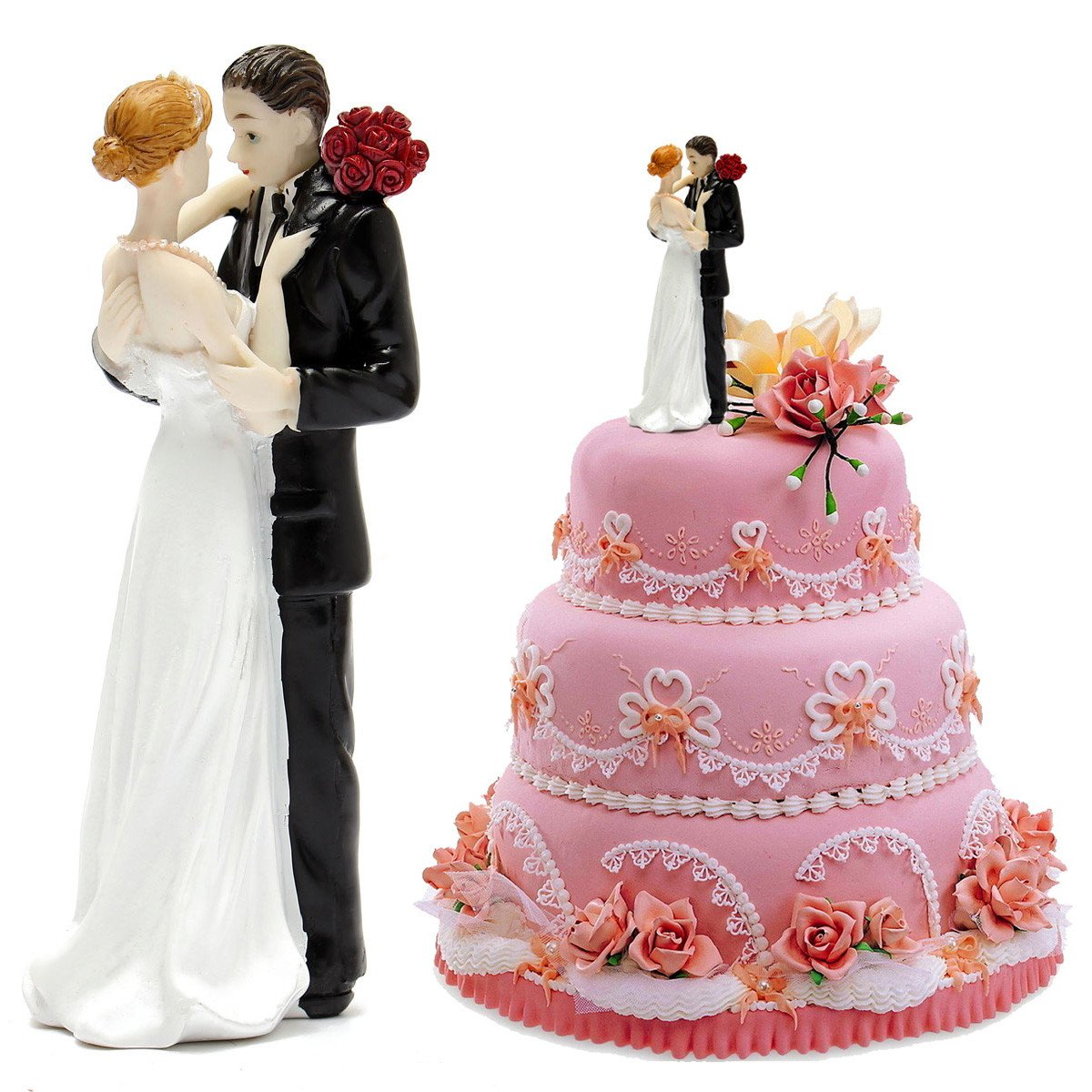 Amazon.com: Romantic bride and groom tender moment wedding couple ...