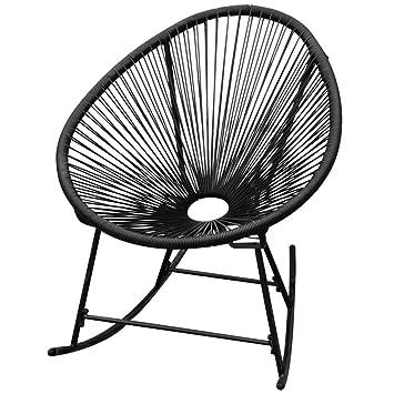 Vidaxl Chaise à Bascule De Jardin Poly Rotin Noir Meuble De Jardin