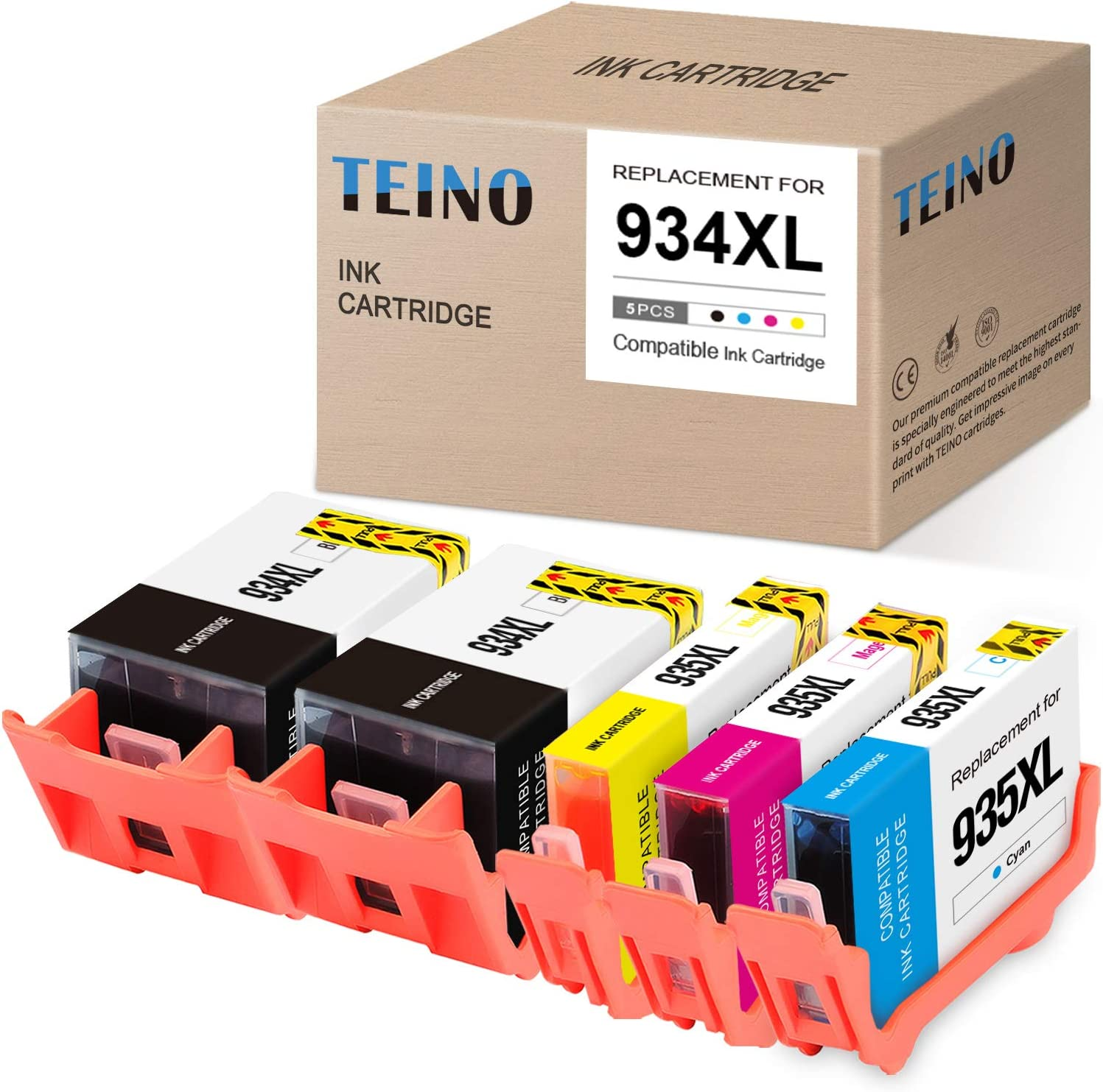 TEINO Compatible Ink Cartridges Replacement for HP 934XL 934 935XL 935 use with HP OfficeJet 6812 6815 6220 6810 6820 OfficeJet Pro 6830 6835 6230 (Black, Cyan, Magenta, Yellow, 5-Pack)