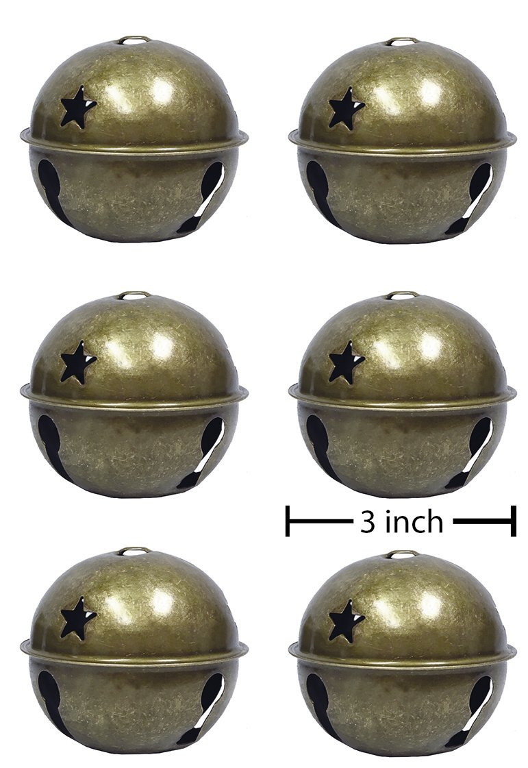 Charmed large size Christmas star cutout jingle bell ornament 3'' pack of 6 (Brass)
