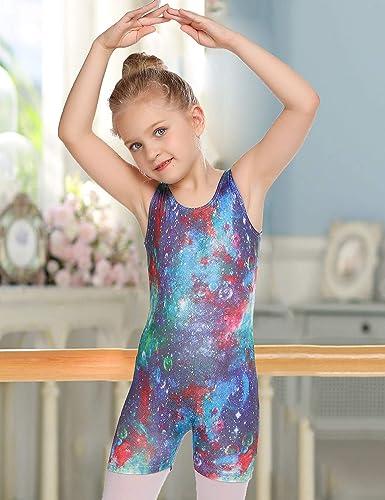 Balasha Girls Gymnastics Leotards with Shorts Kids Dance Unitards Sparkly Biketard