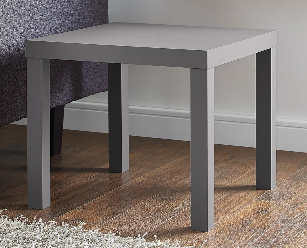 DHP Parsons Modern End Table, Multi-use and Toolless Assembly, Grey