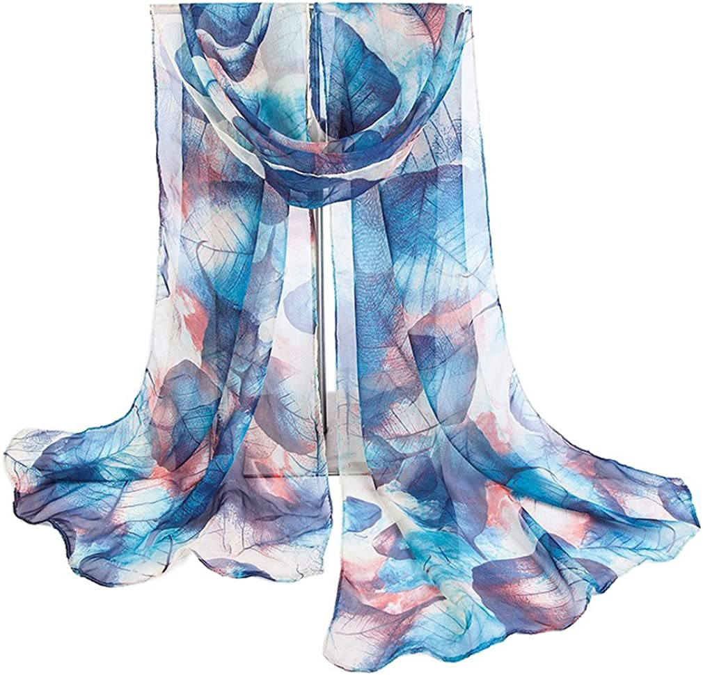 COMVIP Blume Druck Damen Fashion Sommer Schals Halstuch Lange Schals Damenschals