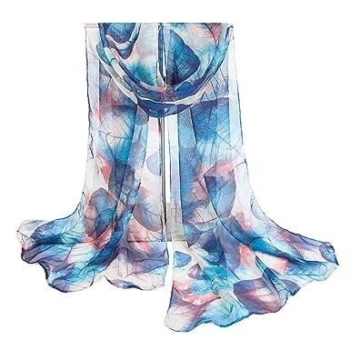 21807d6c4efb YiyiLai Foulard Feuille Imprimé Femme Tulle Echarpe 160 50cm Soirée Plage  Protection Soleil Bleu Foncé