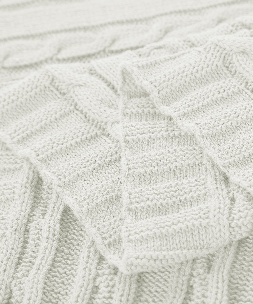 NTBAY 100% Cotton Cable Knit Throw Blanket Super Soft Warm Multi ...