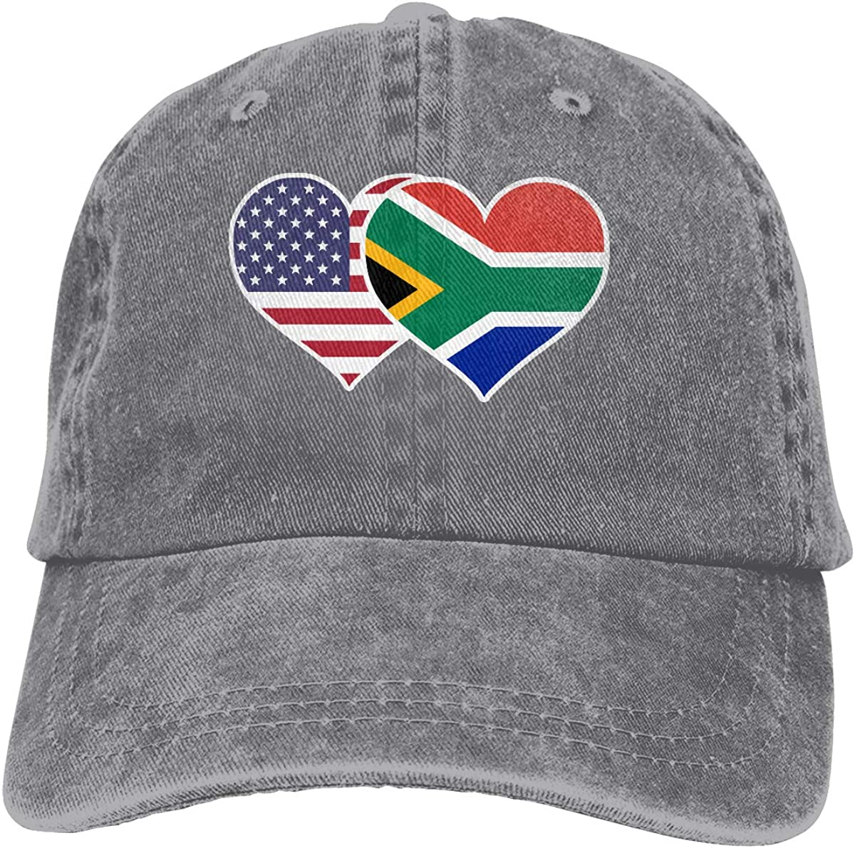 American South African Flag Heart Unisex Custom Denim Casquette Adjustable Baseball Cap