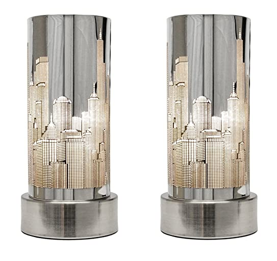 Pair of chrome touch bedside table lamps with new york skyline pair of chrome touch bedside table lamps with new york skyline shades mozeypictures Choice Image