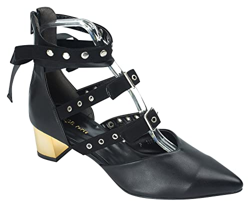 c195a0a37fc AnnaKastle Womens Pointy Toe Studded Ankle-Wrap Heel Pumps Black