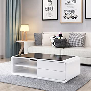 Ofcasa White Gloss Coffee Table With 2 Drawers For Storage And