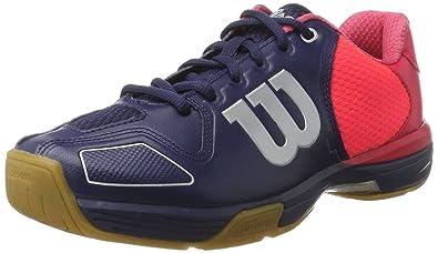 Wilson Vertex Navy Wil, Scarpe da Badminton Unisex-Adulto, Blu (Navy Wil/Neon Red Wil/Silver Metall), 36 1/3 EU