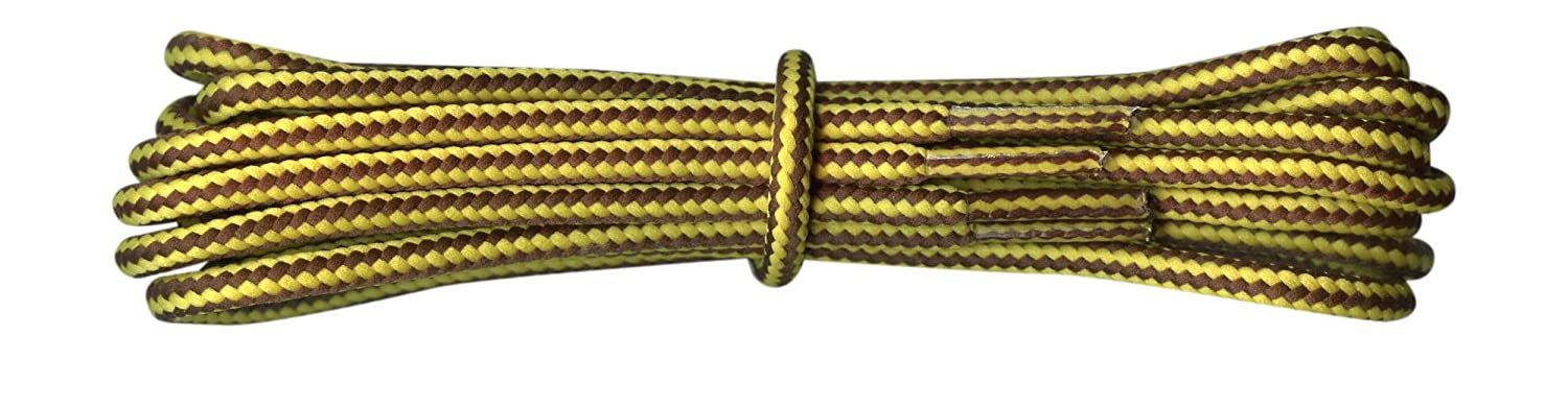 a1d38c1653 Strong Round Work Boot Laces Yellow and Brown Stripes 4mm replacement for  Caterpillar, DeWalt, Timberland, Scruffs: Amazon.co.uk: Shoes & Bags